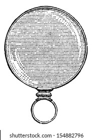 Round Monocle, vintage engraved illustration. Usual Medicine Dictionary - Paul Labarthe - 1885.
