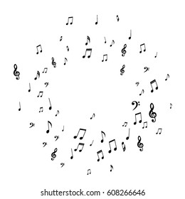 Round Musical Frame of Notes, Bass Clefs and Treble Clefs. Black Musical Symbols of Different Size on White Background