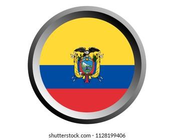 Round National Flag of Ecuador