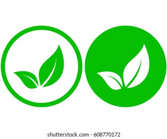 round natural icon with green leaf image
