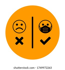 Round No Face Mask, No Entry Icon with Masked and Unmasked Faces. Vector Image.