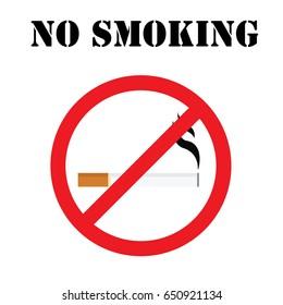 Round no smoking sign, quit smoking, smoke free, no smoking icon vector illustration