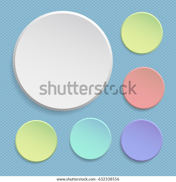 Round offer paper sticker or badges, colorful banners set. Circle buttons. Vector label tag
