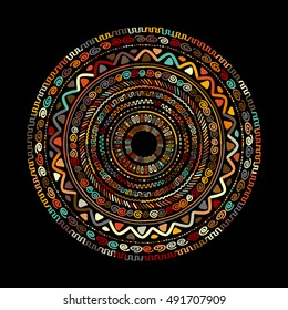 Round ornament design, ethnic mandala. Vector illustration