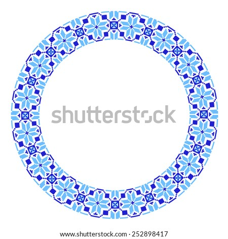 round ornament embroidered good like handmade stock vector royalty
