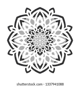 Round ornament mandala. Hand drawn vintage vector Dotwork Illustration. Graphic sketch for tattoo, poster, clothes, t-shirt design, pins, badges, stickers and coloring book