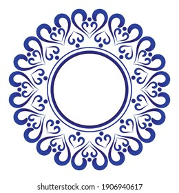 round ornament, porcelain frame, folk print, Decorative art border element Thailand and Islamic style, vintage Template for design, ceramic, plate, pottery, Chinaware, boustiques, Victorian, vector