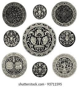 """Round ornament - Vintage engraved illustration - """"L'industrie et l'art décoratif aux deux derniers siècles"""" ed. Firmin-Didot - Paris"""