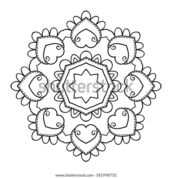 Round ornamental mandala for coloring book, Isolated design element