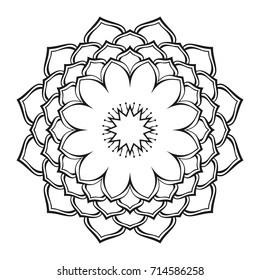 Round ornamental mandala lotus flower, Isolated design element for coloring book, print on T-shirt, textile, tattoo or any other decoration, Vector illustration