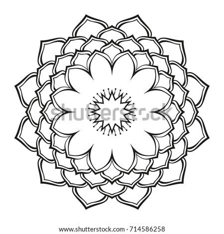 Round ornamental mandala lotus flower isolated stock vector royalty round ornamental mandala lotus flower isolated design element for coloring book print on t mightylinksfo