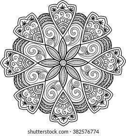 Round ornamental mandala. Vector black and white illustration.