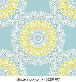 round ornamental watercolor winter snowflake mandala pattern