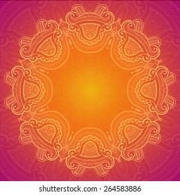 Round Ornate Henna Mandala Design Background. Lace background for greeting card or holiday banner.