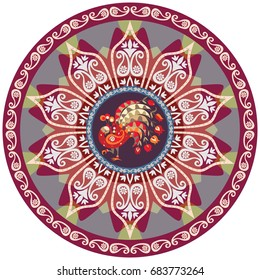 Round ottoman pattern with peacock and flower mandala. Ethnic design. Indian, persian, turkish motives.