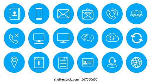 Round Outline Communication Icons Set on light blue background
