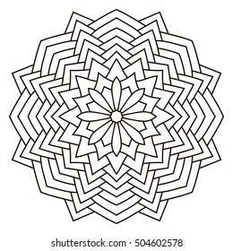 Round outline Mandala for coloring book. Vintage decorative elements