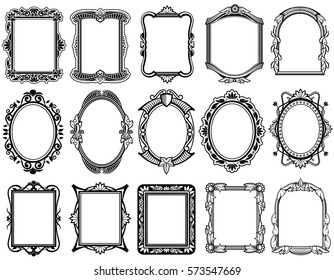 Round, oval, rectangular vintage victorian, baroque vector frames. Set of floral elegant frames illustration