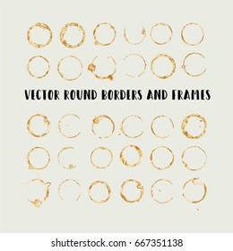 Round paint brush strokes, colorful circle frame or border vector collection. Hand drawn coffee or tea cup stains, brown brushstrokes set, splashes, watercolor lines. Boho retro vintage logo frames.