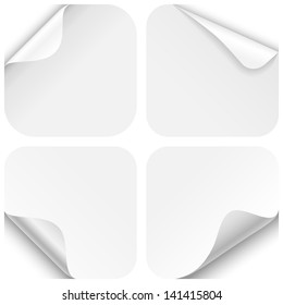 Round Paper Corner Folds - Set of four paper folds with rounded corners, isolated on a white background.  EPS10 file with transparency.