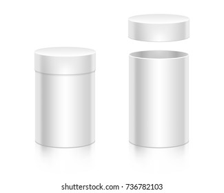 Round paper white box mock-up vector template. Opened and closed boxes. Good for packaging design.