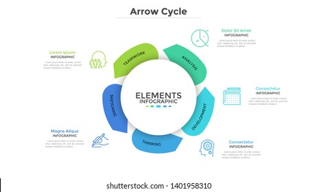 Round paper white chart with five arrows. Concept of cyclical business process with 5 stages. Modern infographic design template. Flat vector illustration for project visualization and analysis.