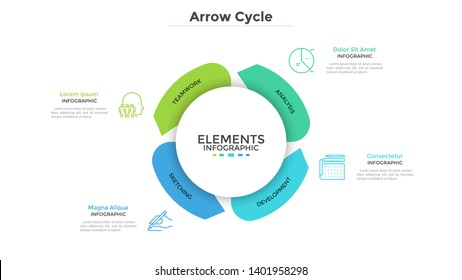 Round paper white chart with four arrows. Concept of cyclical business process with 4 stages. Modern infographic design template. Flat vector illustration for project visualization and analysis.