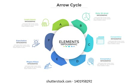 Round paper white chart with six arrows. Concept of cyclical business process with 6 stages. Modern infographic design template. Flat vector illustration for project visualization and analysis.