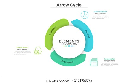 Round paper white chart with three arrows. Concept of cyclical business process with 3 stages. Modern infographic design template. Flat vector illustration for project visualization and analysis.