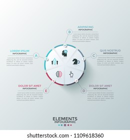 Round paper white pie chart divided into 5 equal sectors with flat icons inside connected to text boxes. Concept of five-stepped cyclic process. Modern infographic design layout. Vector illustration.