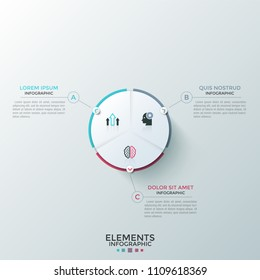 Round paper white pie chart divided into 3 equal sectors with flat icons inside connected to text boxes. Concept of three-stepped cyclic process. Modern infographic design layout. Vector illustration.