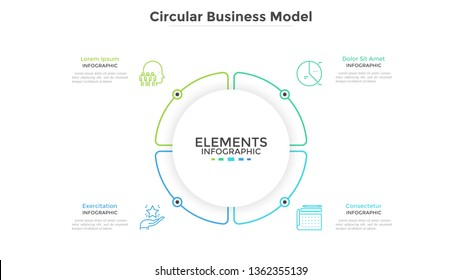 Round paper white pie chart divided into 4 parts or sectors. Circular business model with four options. Clean infographic design template. Vector illustration for presentation, brochure, banner.