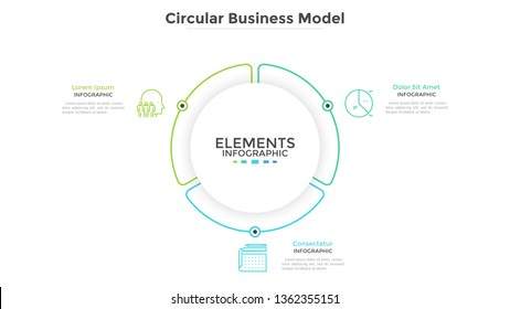 Round paper white pie chart divided into 3 parts or sectors. Circular business model with three options. Clean infographic design template. Vector illustration for presentation, brochure, banner.