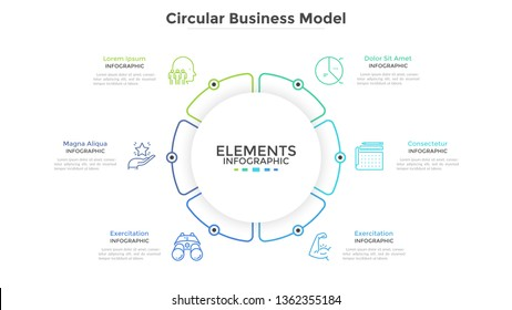 Round paper white pie chart divided into 6 parts or sectors. Circular business model with six options. Clean infographic design template. Vector illustration for presentation, brochure, banner.