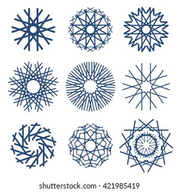 Round pattern. Circular ornament design element. Snowflake set.