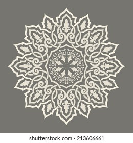 Round Pattern Mandala. Abstract design of Persian- Islamic-Turkish-Ara bic vector circle floral ornamental border!