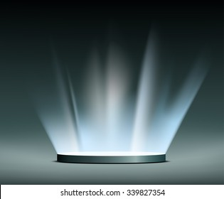 Round pedestal. Rays of light. Hologram. Stock vector illustration.