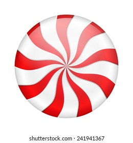 Round peppermint candy on white background, vector eps10 illustration