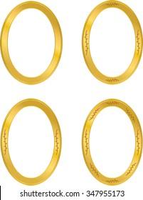 round photo frame, four frame, metal gold, interi pattern vector
