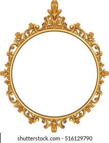 round photo frame, metal gold, interi pattern vector