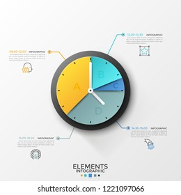 Round pie chart or clock face divided into 4 sectors connected by lines to linear symbols and time indication. Schedule or timetable visualization. Infographic design template. Vector illustration.