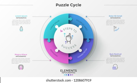 Round pie chart divided into 4 jigsaw puzzle pieces, thin line pictograms and place for text. Concept of four features of successful startup company. Infographic design template. Vector illustration.