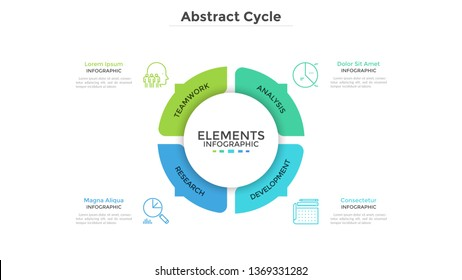 Round pie chart divided into 4 colorful parts with arrows or pointers. Four features of startup project. Minimal infographic design template. Modern vector illustration for website menu interface.