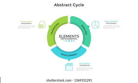 Round pie chart divided into 3 colorful parts with arrows or pointers. Three features of startup project. Minimal infographic design template. Modern vector illustration for website menu interface.