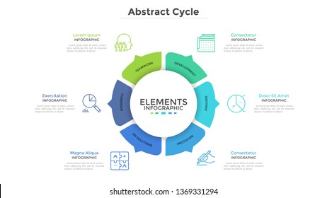 Round pie chart divided into 6 colorful parts with arrows or pointers. Six features of startup project. Minimal infographic design template. Modern vector illustration for website menu interface.