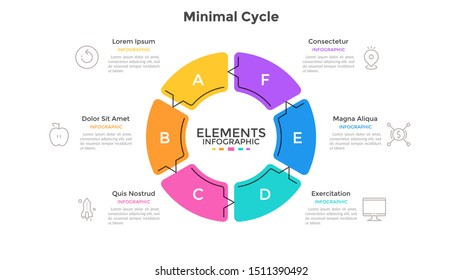 Round pie chart divided into 6 sectors connected by arrows. Concept of six stages cyclical process. Minimal infographic design template. Flat vector illustration for business cycle visualization.