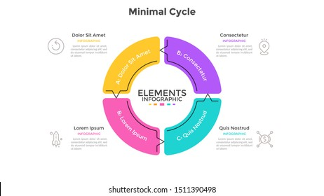 Round pie chart divided into 4 sectors connected by arrows. Concept of four stages cyclical process. Minimal infographic design template. Flat vector illustration for business cycle visualization.