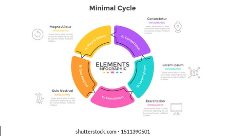 Round pie chart divided into 5 sectors connected by arrows. Concept of five stages cyclical process. Minimal infographic design template. Flat vector illustration for business cycle visualization.
