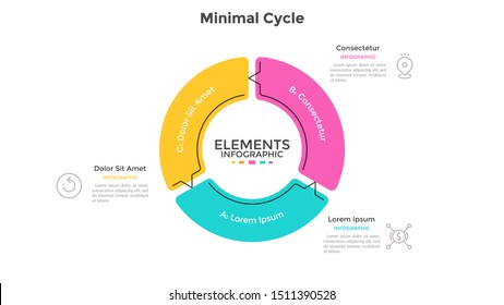 Round pie chart divided into 3 sectors connected by arrows. Concept of three stages cyclical process. Minimal infographic design template. Flat vector illustration for business cycle visualization.