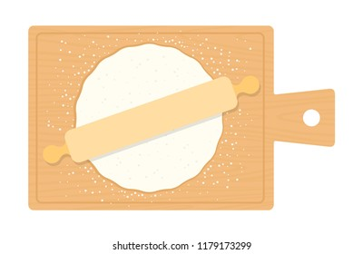 Round piece of rolled dough for pizza on a wooden board with a wooden rolling pin vector flat material design isolated on white
